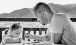 Father and daughter homeschool homework