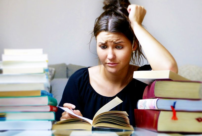 Female student with books