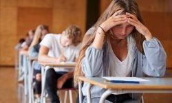 Stressed girl taking test