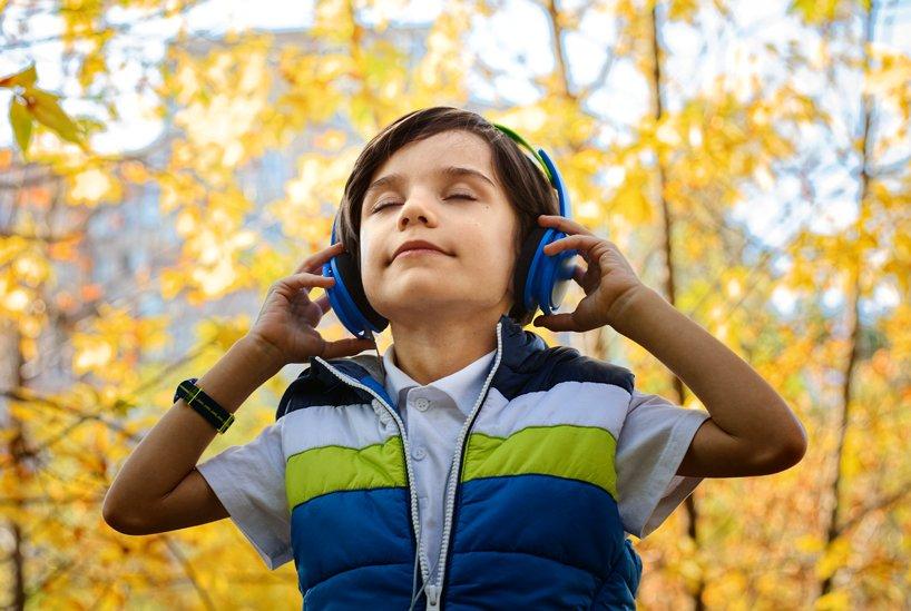 Child wearing headphones